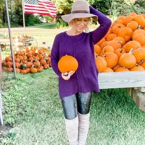 🍁👜Loft Purple Tunic Sweater - Medium Petite